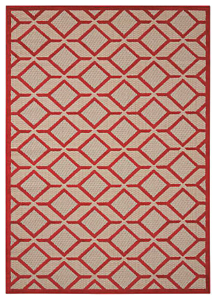 "Home Accents Aloha Checkered 5' x 7'5"" Area Rug, Red, large"