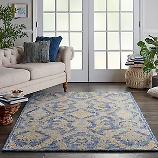 Nourison Azura Navy and Gold 5'x8' Farmhouse Area Rug, Navy Blue, rollover