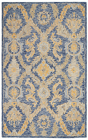 Nourison Azura Navy and Gold 5'x8' Farmhouse Area Rug, Navy Blue, large