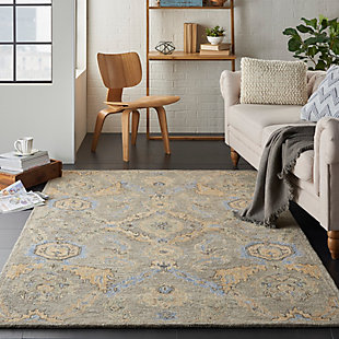 Nourison Azura Taupe and Gold 5'x8' Farmhouse Area Rug, Taupe/Blue, rollover