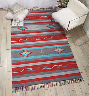 Nourison Baja Gray and Red 5'x7' Southwestern Area Rug, Gray/Red, rollover