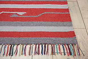Nourison Baja Gray and Red 5'x7' Southwestern Area Rug, Gray/Red, large