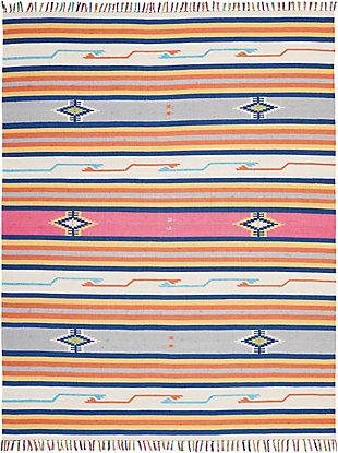 Nourison Baja White Multicolor 8'x10' Large Flat Weave Rug, Ivory, large