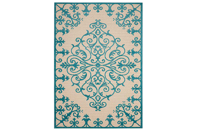 "Home Accents Aloha 5' x 7'5"" Area Rug, Teal Blue, large"