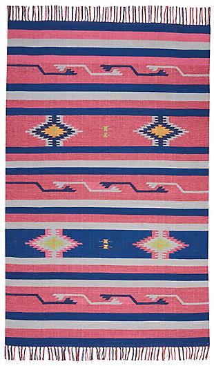 Nourison Baja Pink and Blue 4'x6' Southwestern Area Rug, Pink/Blue, large
