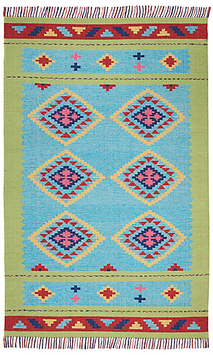 Nourison Baja Blue and Green 5'x7' Southwestern Area Rug, Blue/Green, large