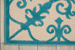 "Home Accents Aloha 7'10"" x 10'6"" Area Rug, Teal Blue, large"