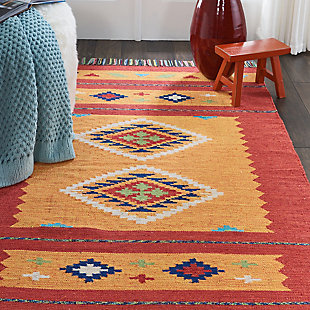 Nourison Baja Yellow and Red 5'x7' Southwestern Area Rug, Yellow/Red, rollover