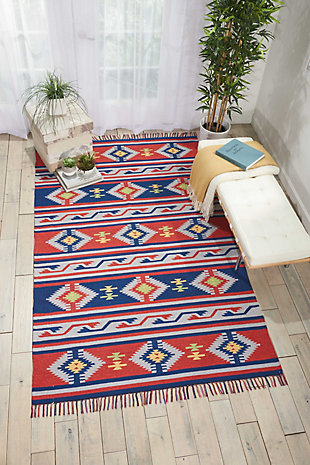 Nourison Baja Blue and Red 5'x7' Southwestern Area Rug, Blue/Red, rollover
