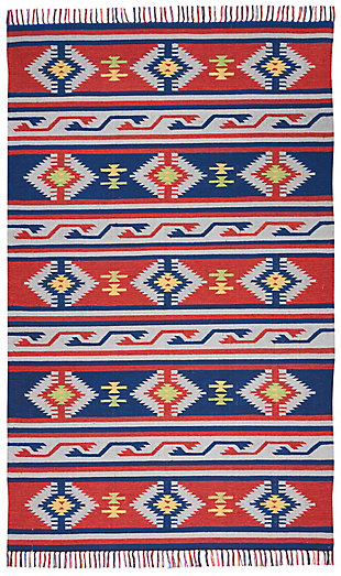 Nourison Baja Blue and Red 5'x7' Southwestern Area Rug, Blue/Red, large