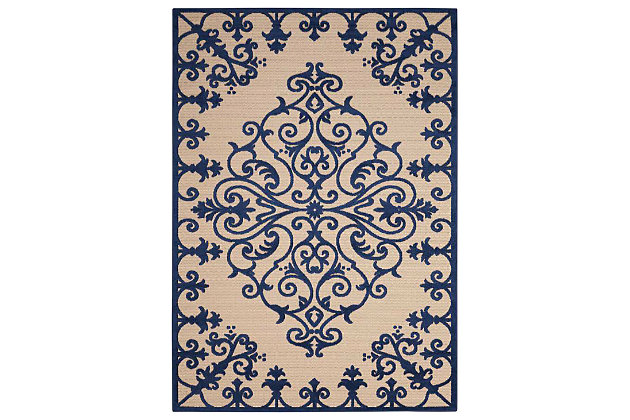 "Home Accents Aloha 5' x 7'5"" Area Rug, Blue, large"