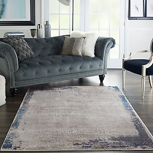 """Nourison Etchings 5'3"""" x 7'3"""" Gray/Navy Artistic Area Rug, Gray/Navy, rollover"""