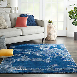 """Nourison Etchings 5'3"""" x 7'3"""" Blue Abstract Area Rug, Blue, rollover"""