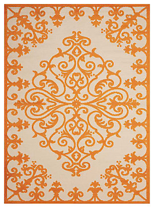 "Home Accents Aloha 7'10"" x 10'6"" Area Rug, Orange, large"