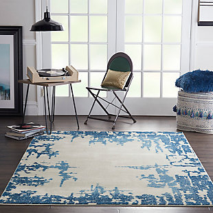 "Nourison Etchings 5'3"" x 7'3"" Ivory/Blue Abstract Area Rug, Ivory/Blue, rollover"