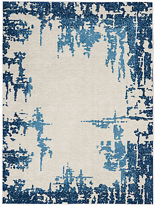 """Nourison Etchings 5'3"""" X 7'3"""" Ivory/blue Abstract Area Rug, Ivory/Blue, large"""