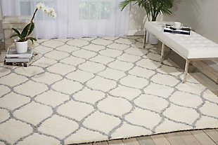 Nourison Galway White 5'x7' Area Rug, Ivory/Ash, rollover