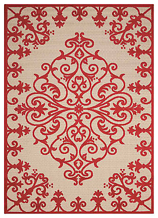 "Home Accents Aloha 7'10"" x 10'6"" Area Rug, Red, large"