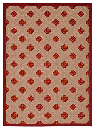 "Home Accents Aloha Triangle 5' x 7'5"" Area Rug, Red, large"