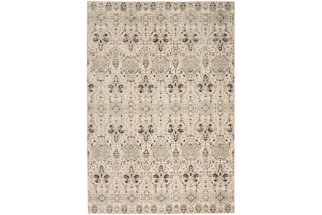 Nourison HomeSilver Screen Gray and White 5'x7' Area Rug, Gray/Slate, large