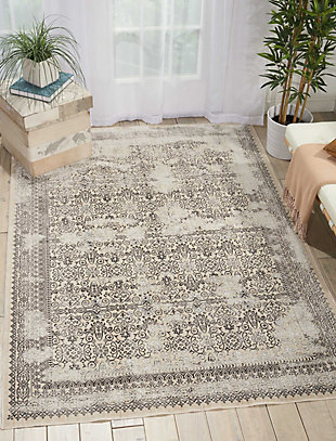Nourison HomeSilver Screen Ivory White 5'x7' Area Rug, Gray, rollover
