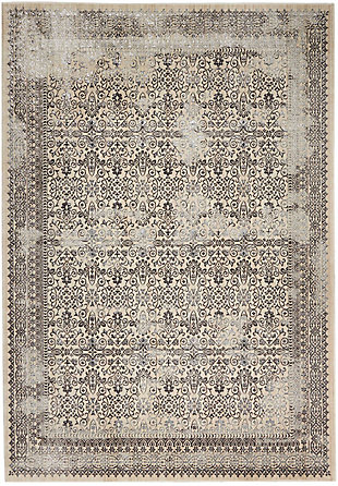 Nourison HomeSilver Screen Ivory White 5'x7' Area Rug, Gray, large