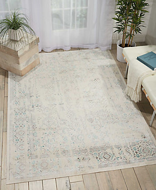 Nourison Homesilver Screen White And Teal Blue 5'x7' Area Rug, Ivory/Teal, rollover