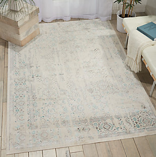 Nourison HomeSilver Screen White and Teal Blue 5'x7' Area Rug, Ivory/Teal, large