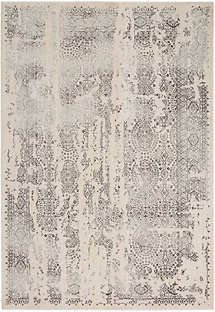Nourison HomeSilver Screen Ivory White 5'x7' Area Rug, Ivory/Gray, large