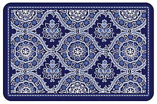 "Home Accents Premium Comfort 1'10"" x 2'7"" Deep Floral Mat, Blue, large"