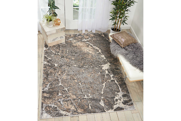 Nourison Home Heritage Gray 5'x7' Area Rug, Gray, large