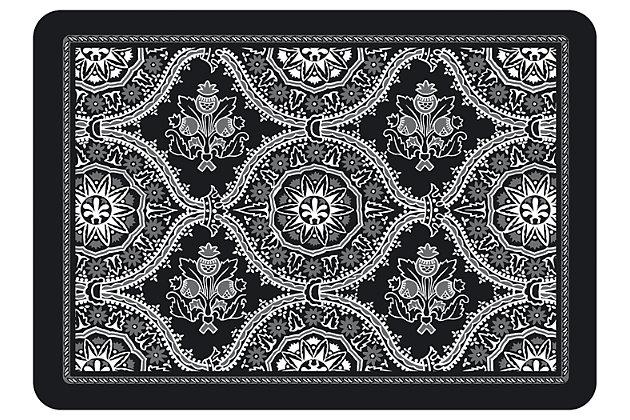"""Home Accents Premium Comfort 1'10"""" x 2'7"""" Deep Floral Mat, Black, large"""