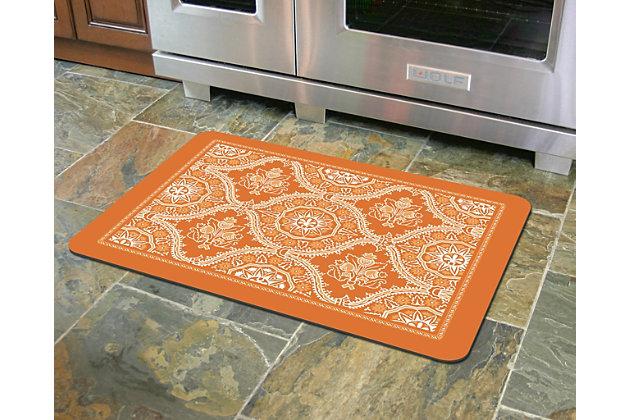 """Home Accents Premium Comfort 1'10"""" x 2'7"""" Deep Floral Mat, Orange, large"""