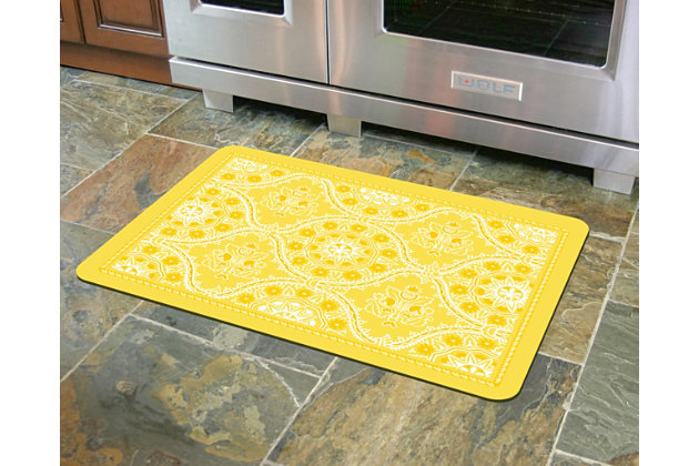 "Home Accents Premium Comfort 1'10"" x 2'7"" Deep Floral Mat, Yellow, large"