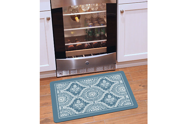 "Home Accents Premium Comfort 1'10"" x 2'7"" Deep Floral Mat, Gray, large"