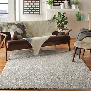Nourison Gray and Ivory 4'x6' Area Rug, Ivory/Platinum, rollover