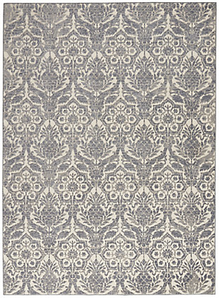 Nourison Gray and Ivory 4'x6' Area Rug, Ivory/Platinum, large