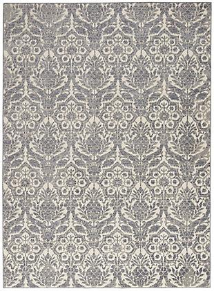 Nourison Gray And Ivory 4'x6' Area Rug, Ivory/Platinum, large