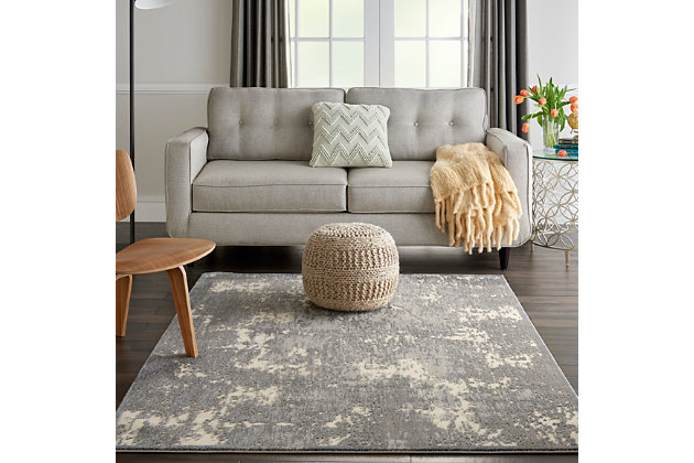 Nourison Charcoal and Ivory 4'x6' Area Rug, Ivory/Gray, large
