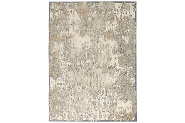 Nourison Beige and Ivory 4'x6' Area Rug, Ivory/Silver, large