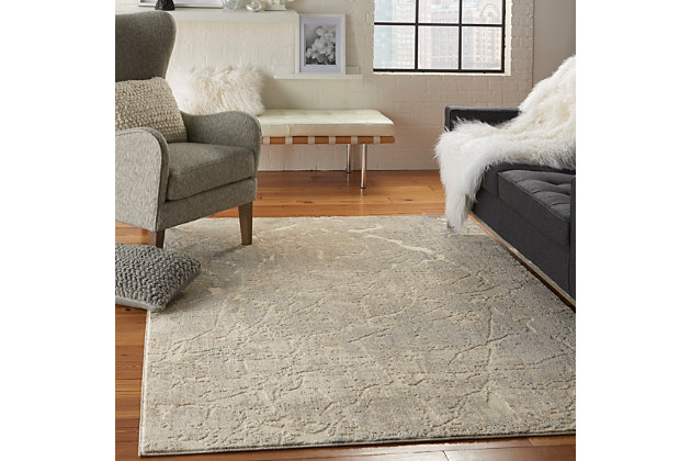 Nourison Beige and Ivory 4'x6' Area Rug, Ivory/Beige, large