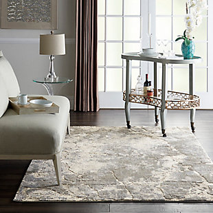 Nourison KI394 Gray and White 5'x7' Area Rug, Blue/Ivory, rollover