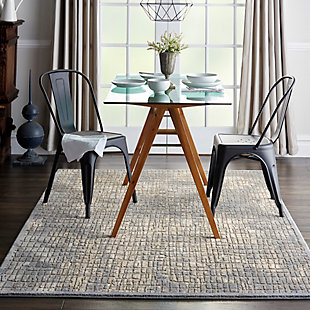 Nourison Charcoal and Beige 5'x7' Area Rug, Blue/Gray, rollover