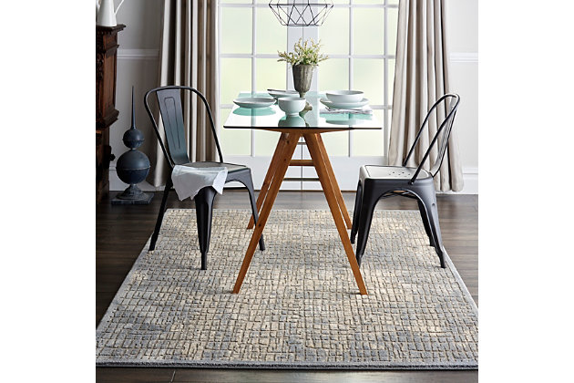 Nourison Charcoal and Beige 5'x7' Area Rug, Blue/Gray, large