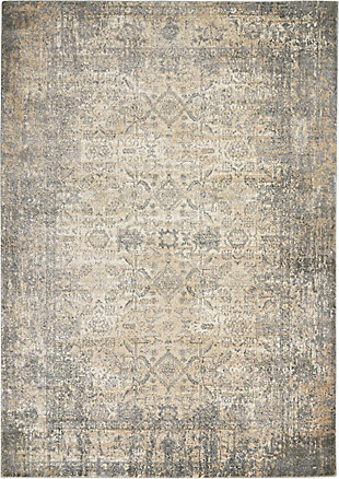 Nourison Moroccan Celebration 5' x 7' Area Rug, Ivory/Slate, large