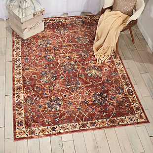 Nourison Red 5'x8' Area Rug, Brick, rollover