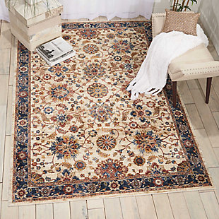 Nourison Cream Multicolor 8'x10' Large Low-pile Rug, Cream, rollover