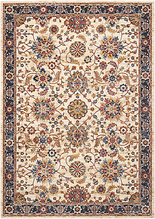 Nourison Cream Multicolor 8'x10' Large Low-pile Rug, Cream, large