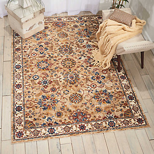 Nourison Beige Multicolor 5'x8' Area Rug, Natural, rollover