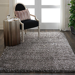 Nourison Luxe Shag Charcoal Gray 5'x7' Flokati Area Rug, Charcoal, rollover